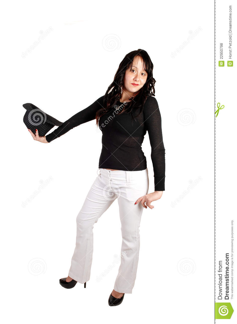 Woman In White Pants And Had. Royalty Free Stock Photos - Image ...