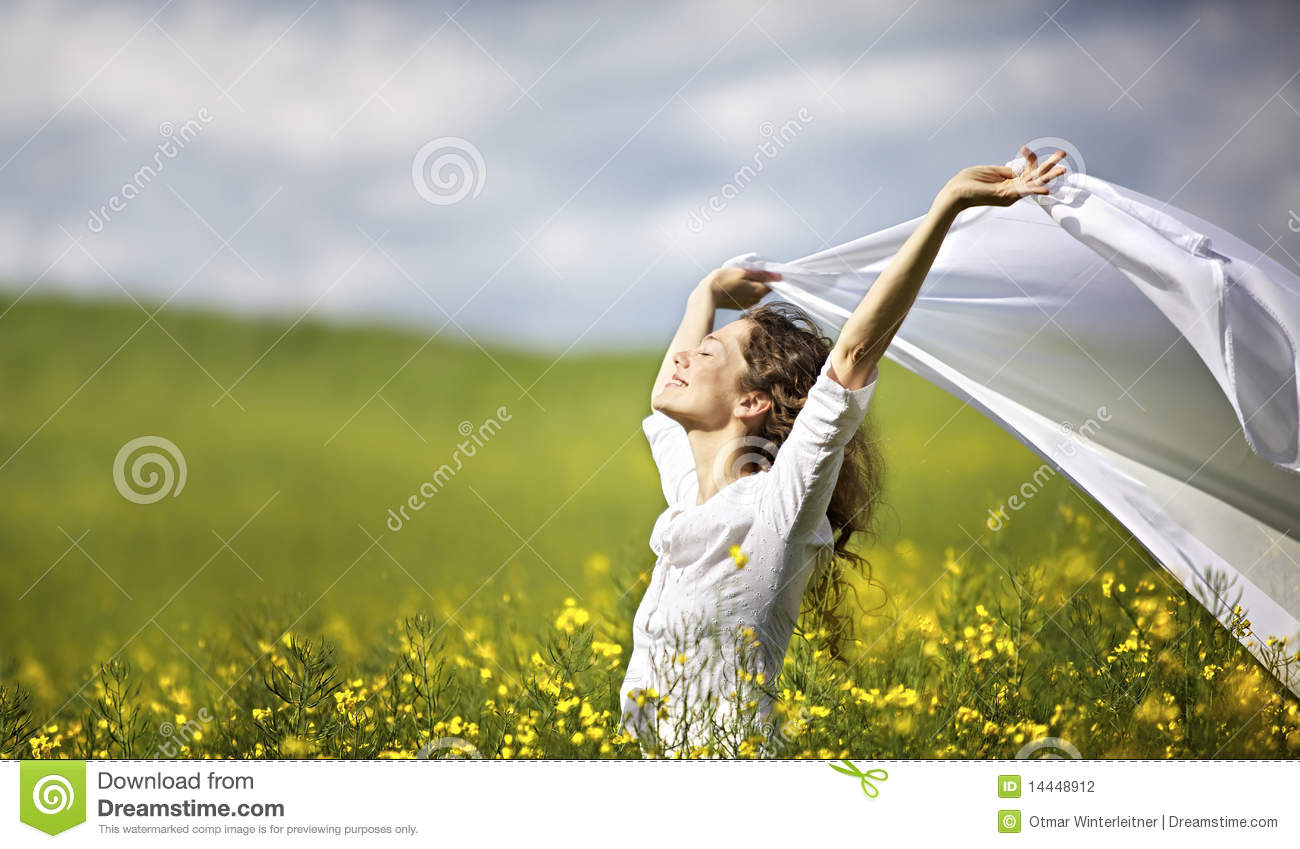 Download Woman With White Piece Of Cloth In Wind Stock Photo - Image of cloth, girl: 14448912