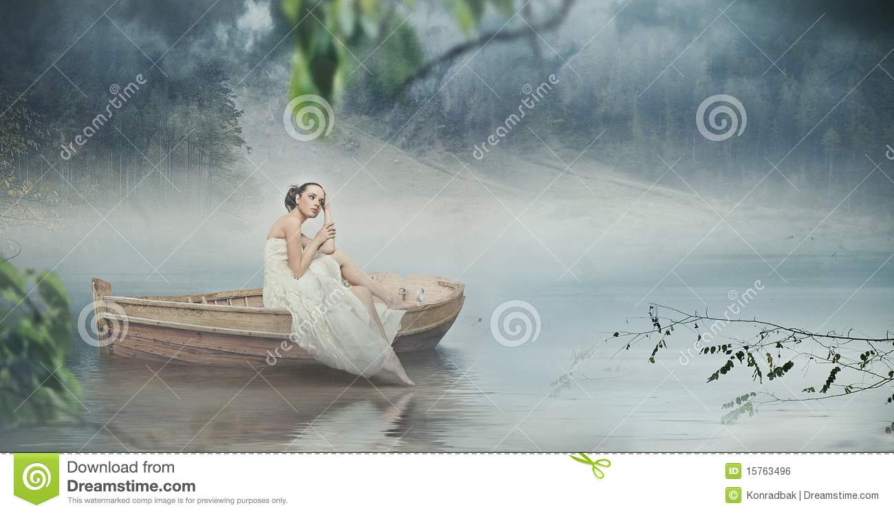 Woman in white and the romantic place