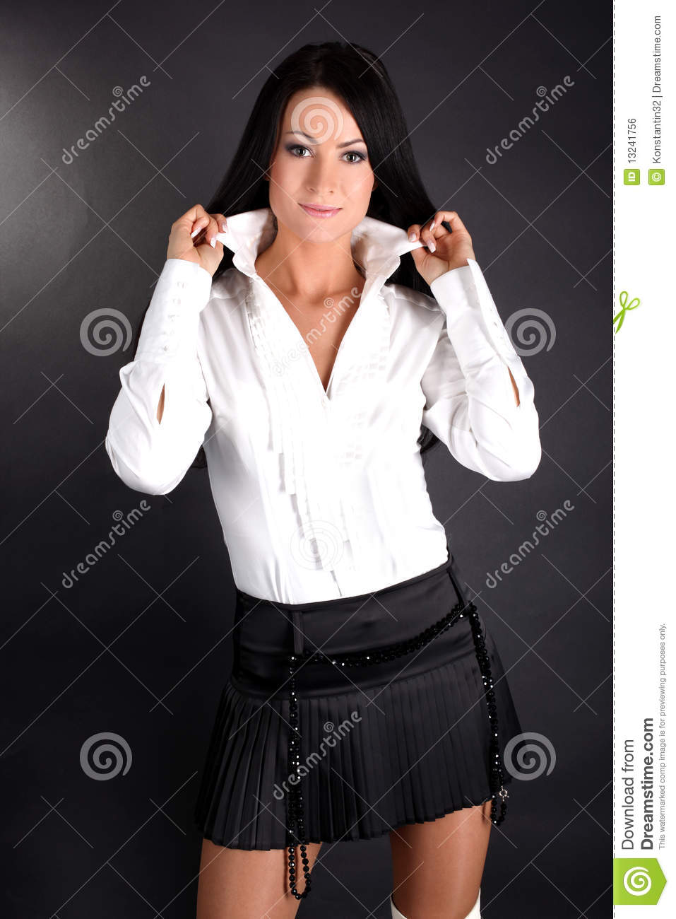 Creative Woman In White Shirt And Black Skirt  Stock Photo  Konstantin32