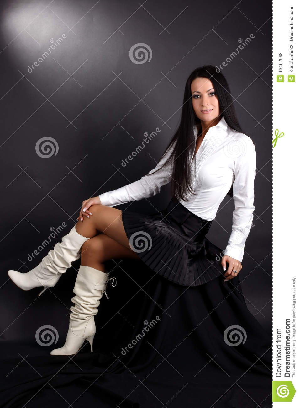 Woman In White Shirt And Boots Stock