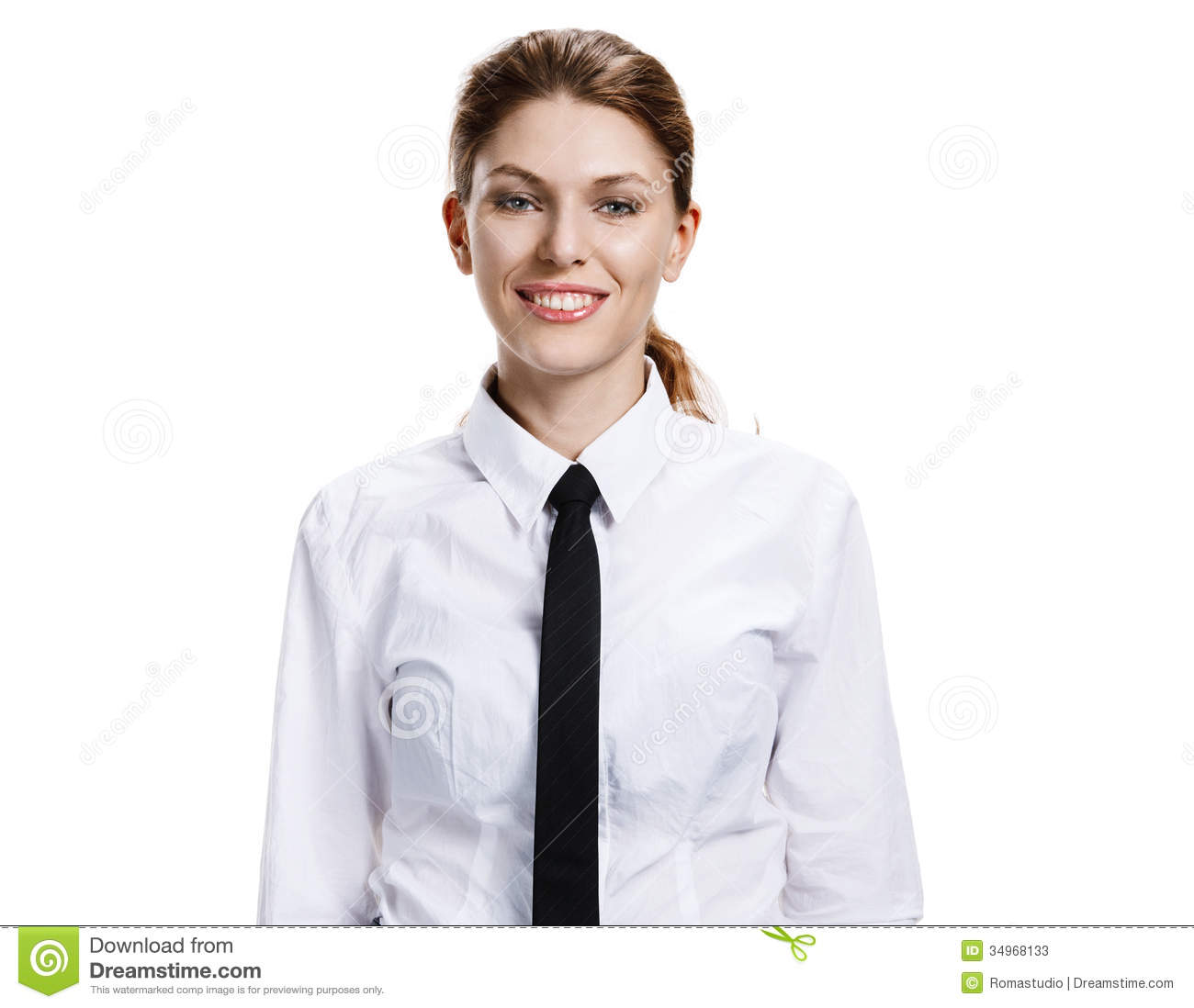 Woman In A White Shirt And Tie Stock Photos - Image: 34968133