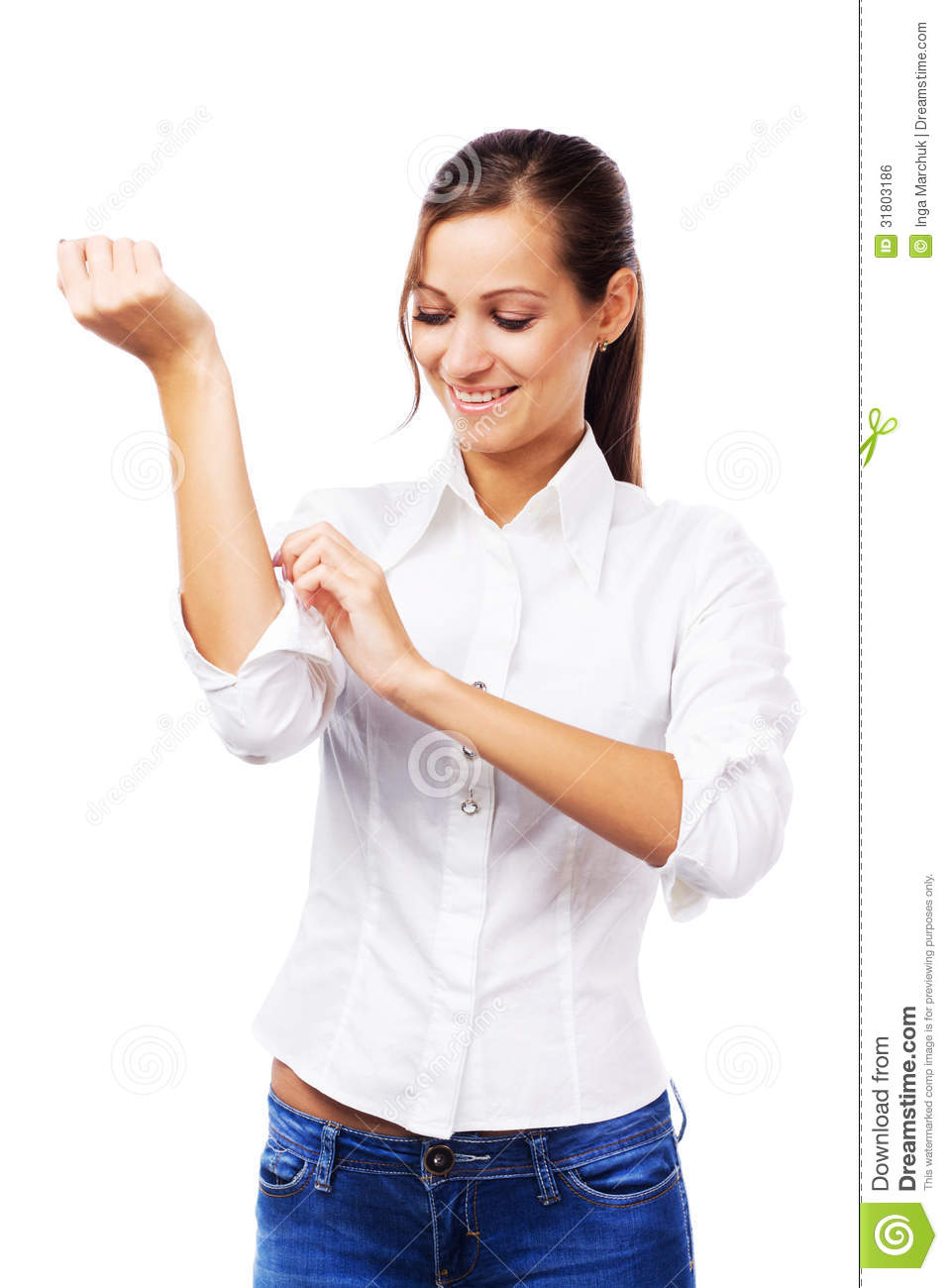 Woman In White Shirt Turning Up Sleeves Royalty Free Stock Image ...