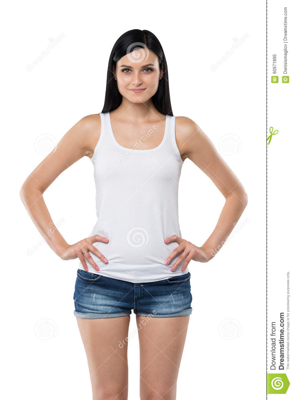 35eeebf1e5972 Woman Is In A White Tank Top And Blue Denim Shorts. Isolated. Stock ...
