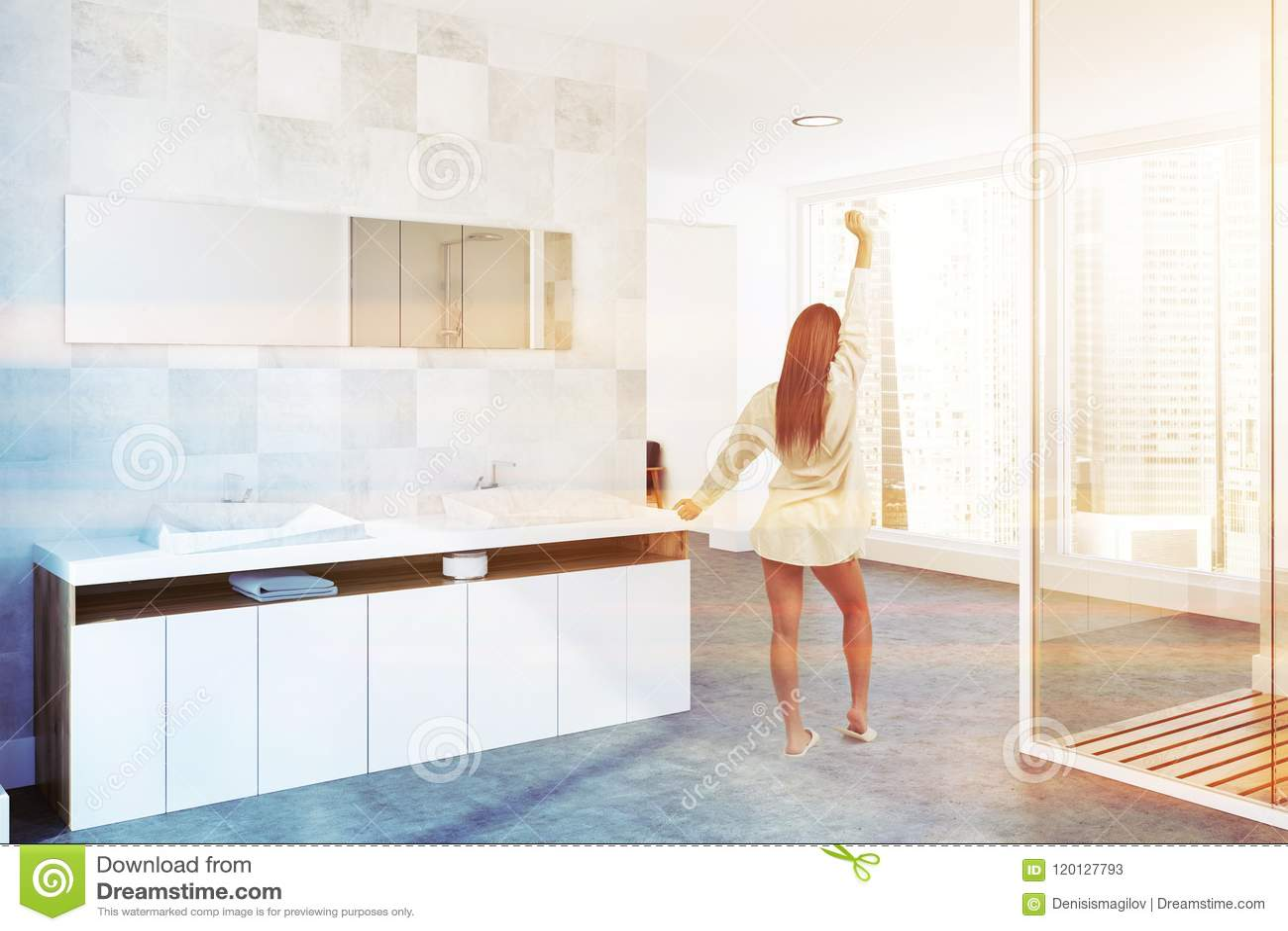 White Twin Luxury Bathroom Sink, Side View, Woman Stock Illustration ...