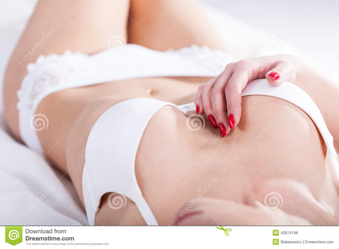 f5bcb53aa29 Woman In White Underwear Tempting Stock Photo - Image of bedclothes ...