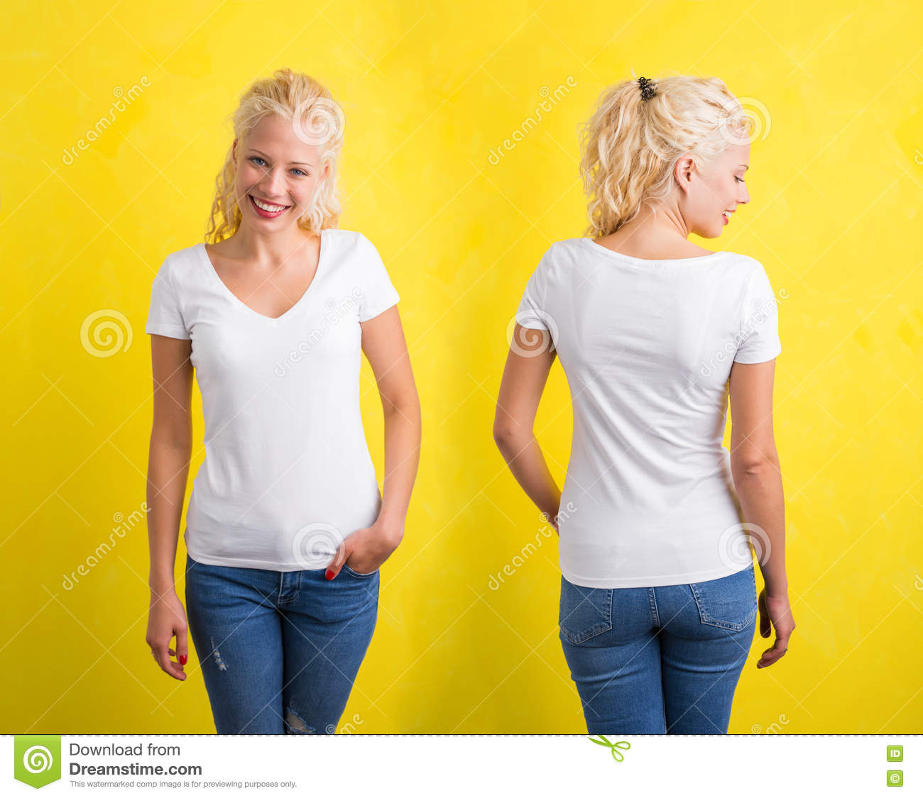7af9925e3c6d Woman In White V-neck Tshirt On Yellow Background Stock Photo ...