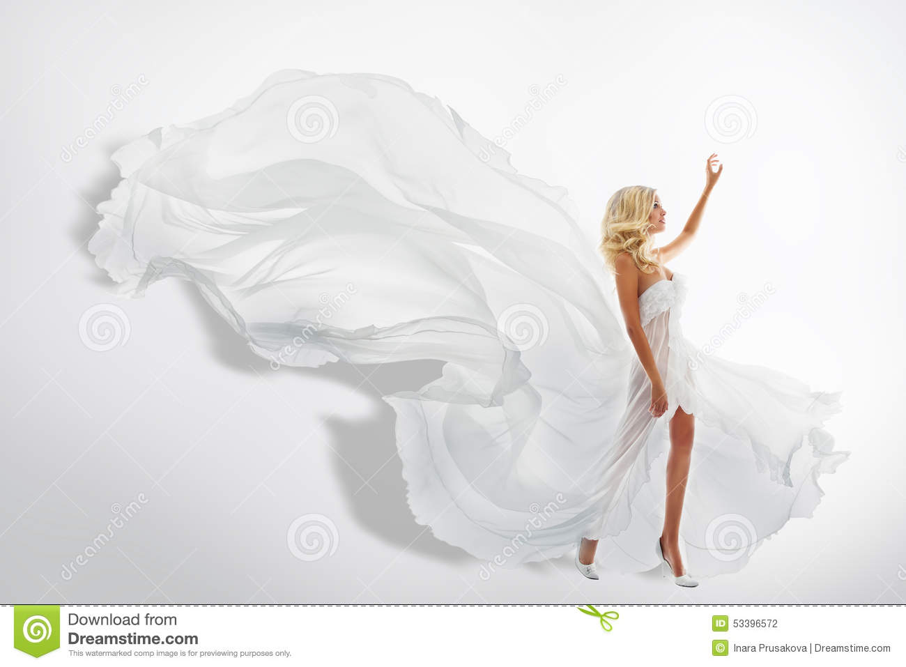 Woman White Waving Dress, Showing Hand Up, Flying Silk Fabric