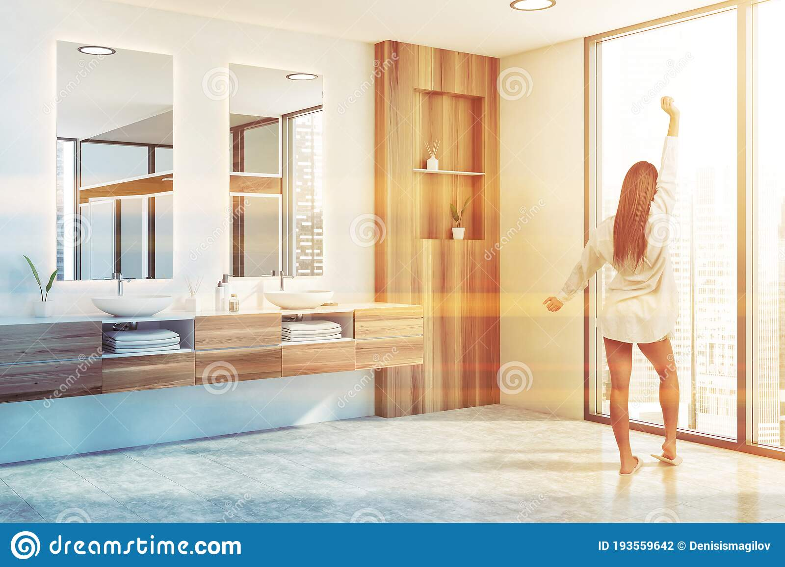 Woman In White And Wood Bathroom Corner Stock Photo Image Of Cozy Counter 193559642