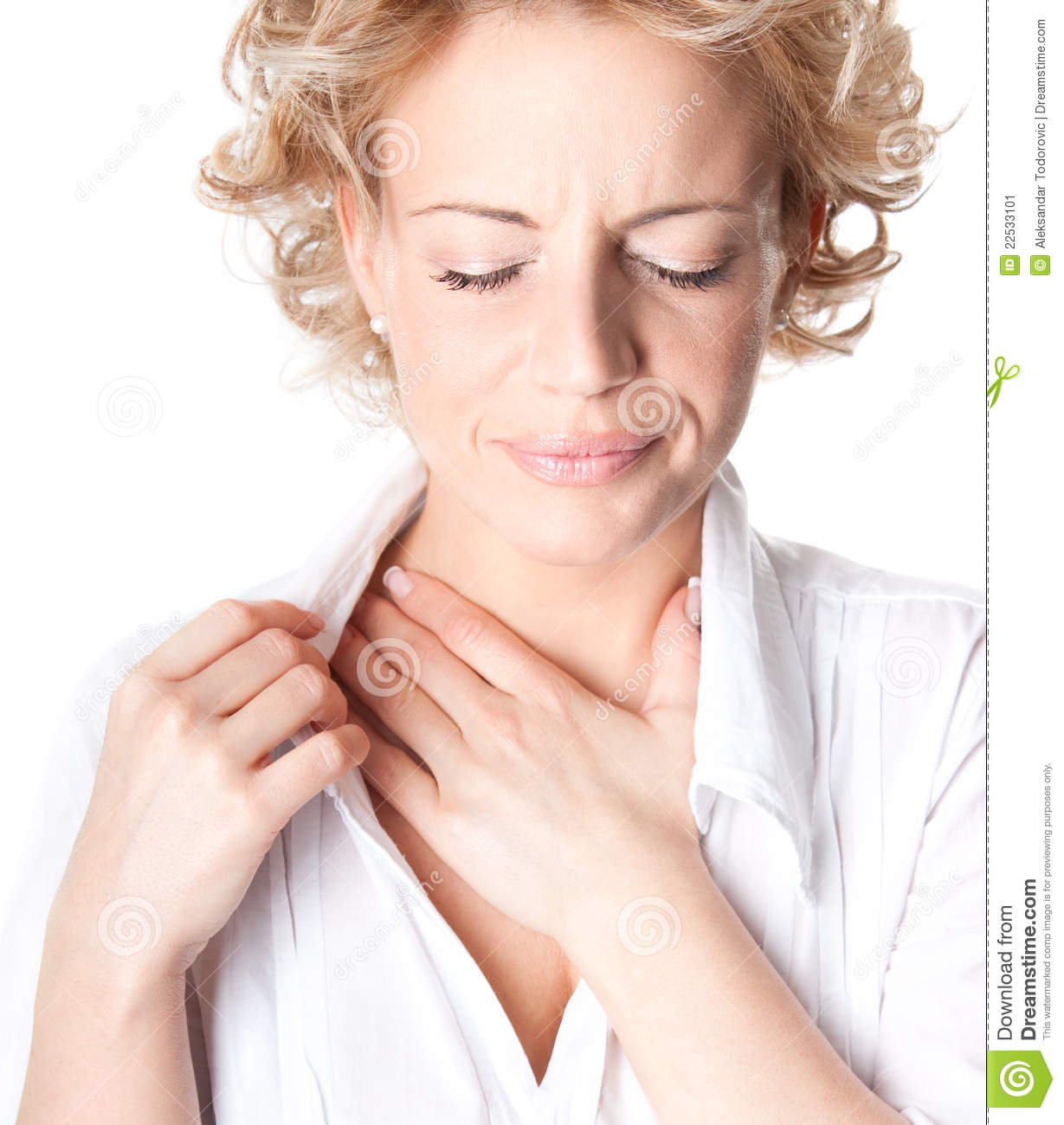 Woman who has chest pain