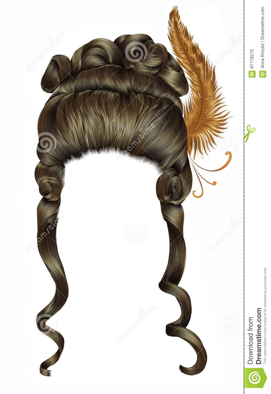 Woman wig hairs curls. medieval style rococo,baroque high hairdress with feather.