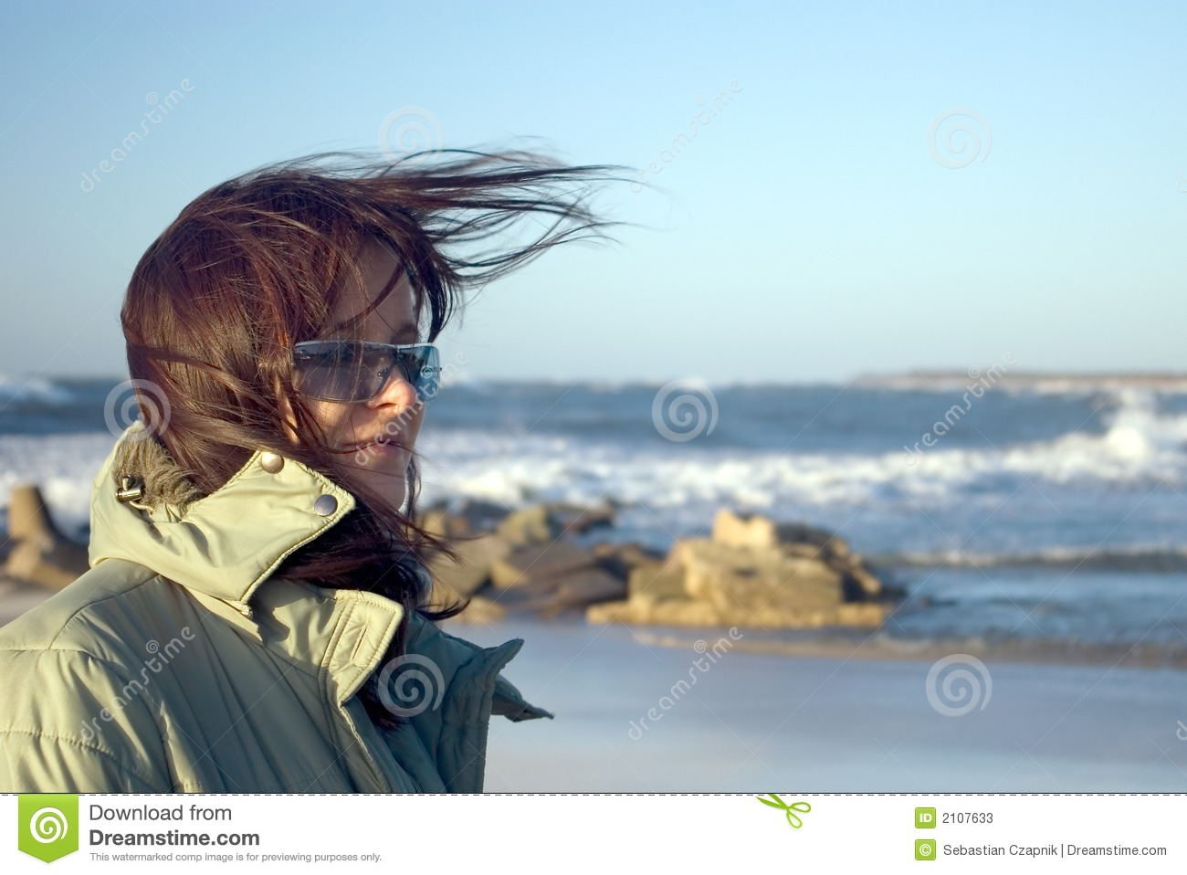 woman and windy sea