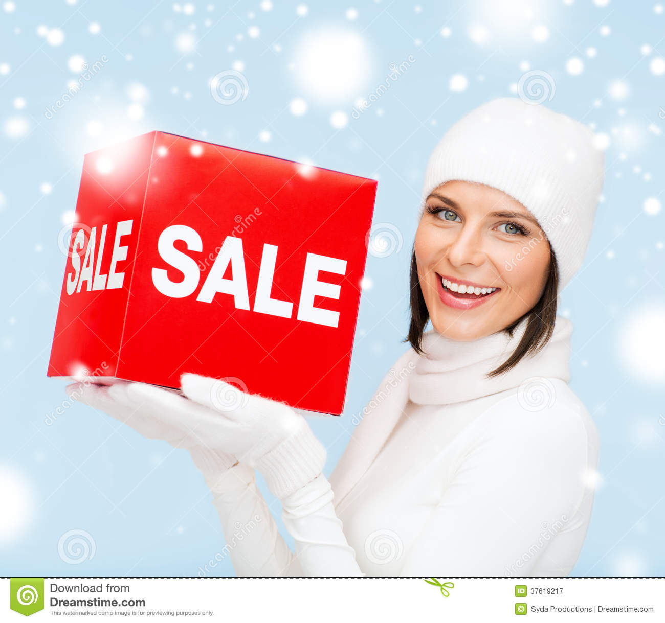 Woman In Winter Clothes With Red Sale Sign Royalty Free ...