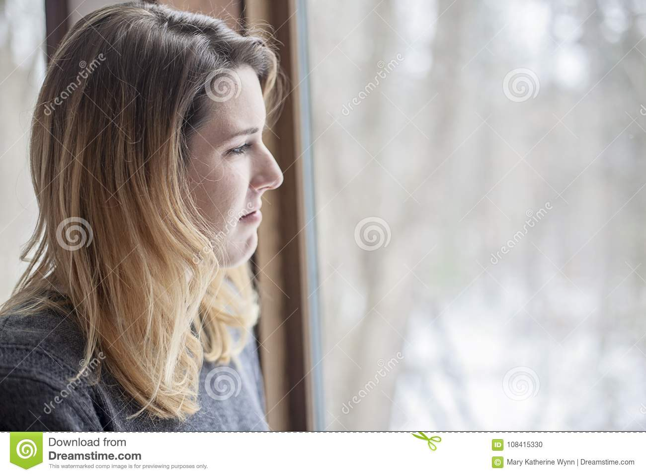 Woman with winter depression