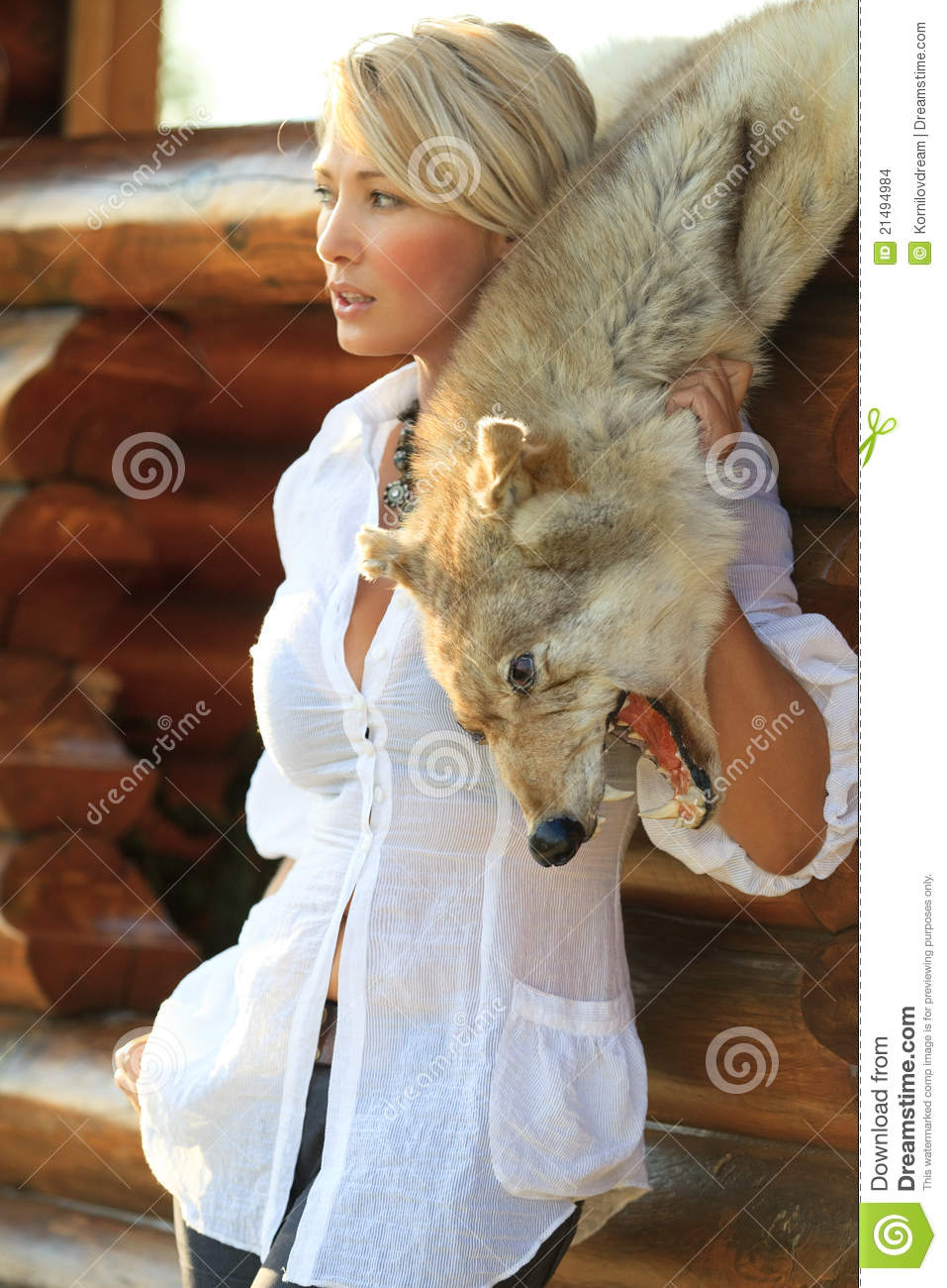 Woman With Wolf Skin Stock Photo Image Of Human Beauty