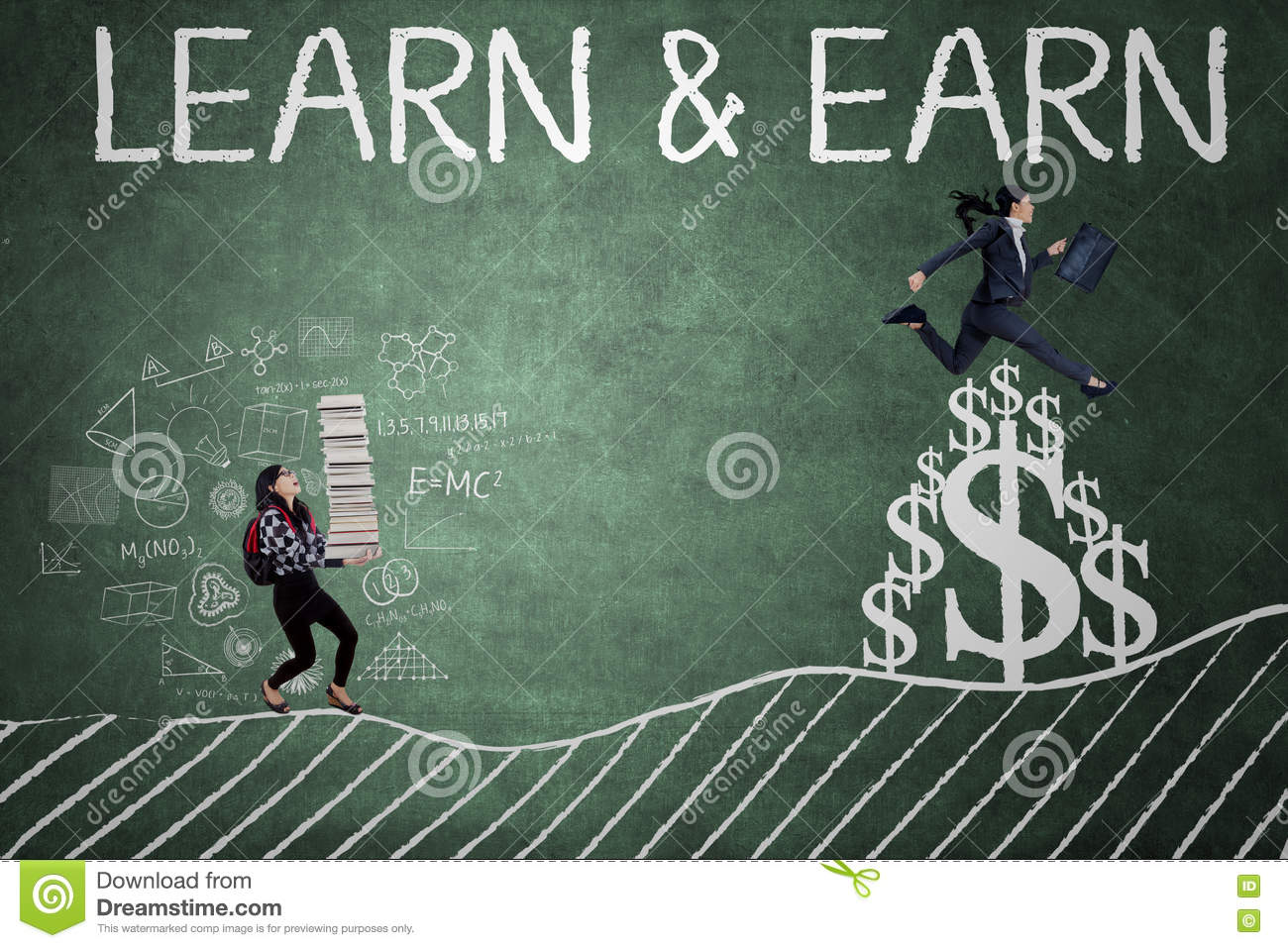 Woman with words of learn and earn