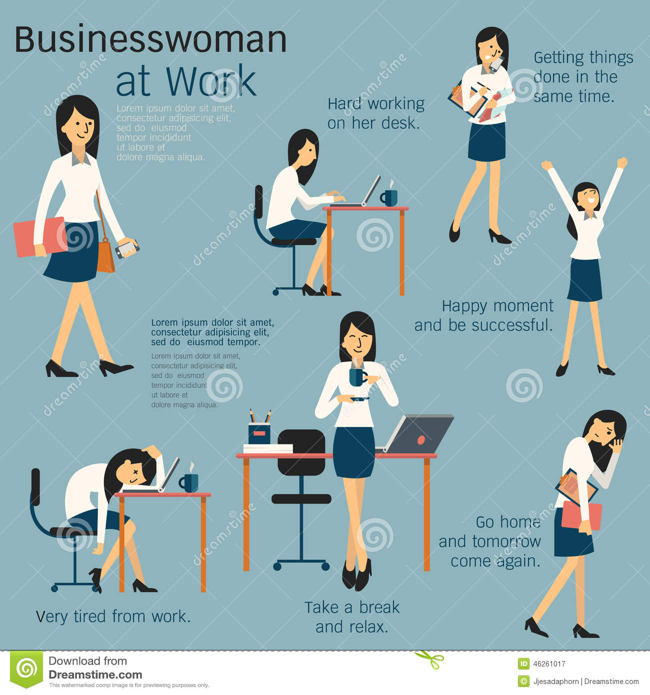 Character cartoon set of businesswoman or office person daily working ...