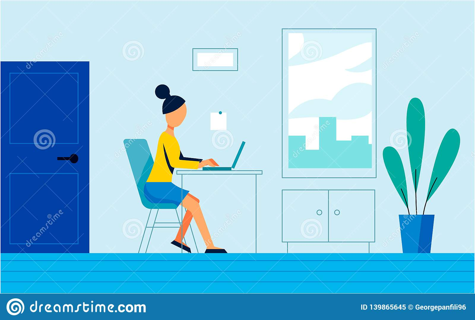 The woman work in the office. Art illustration
