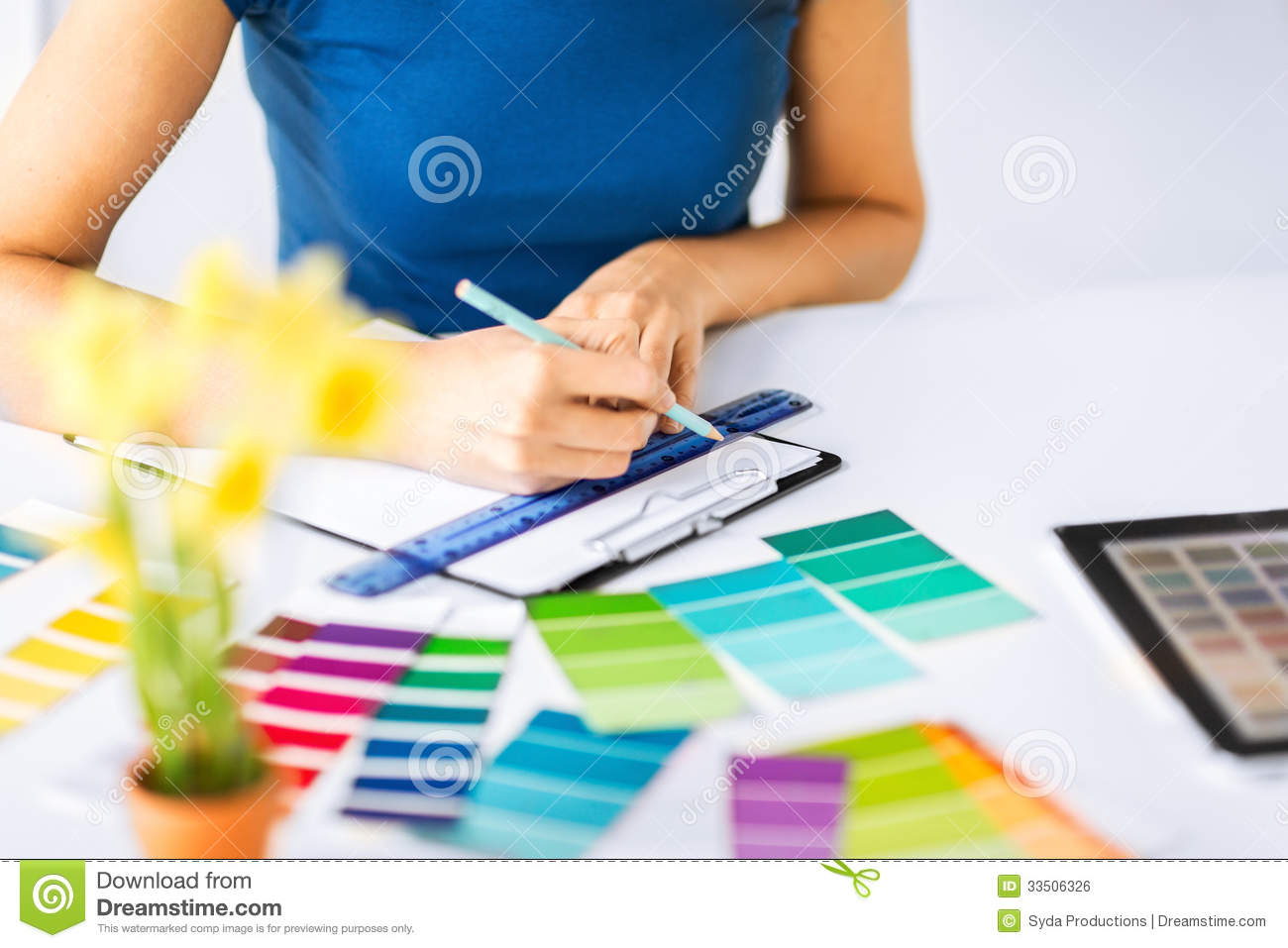 Woman Working With Color Samples For Selection Royalty