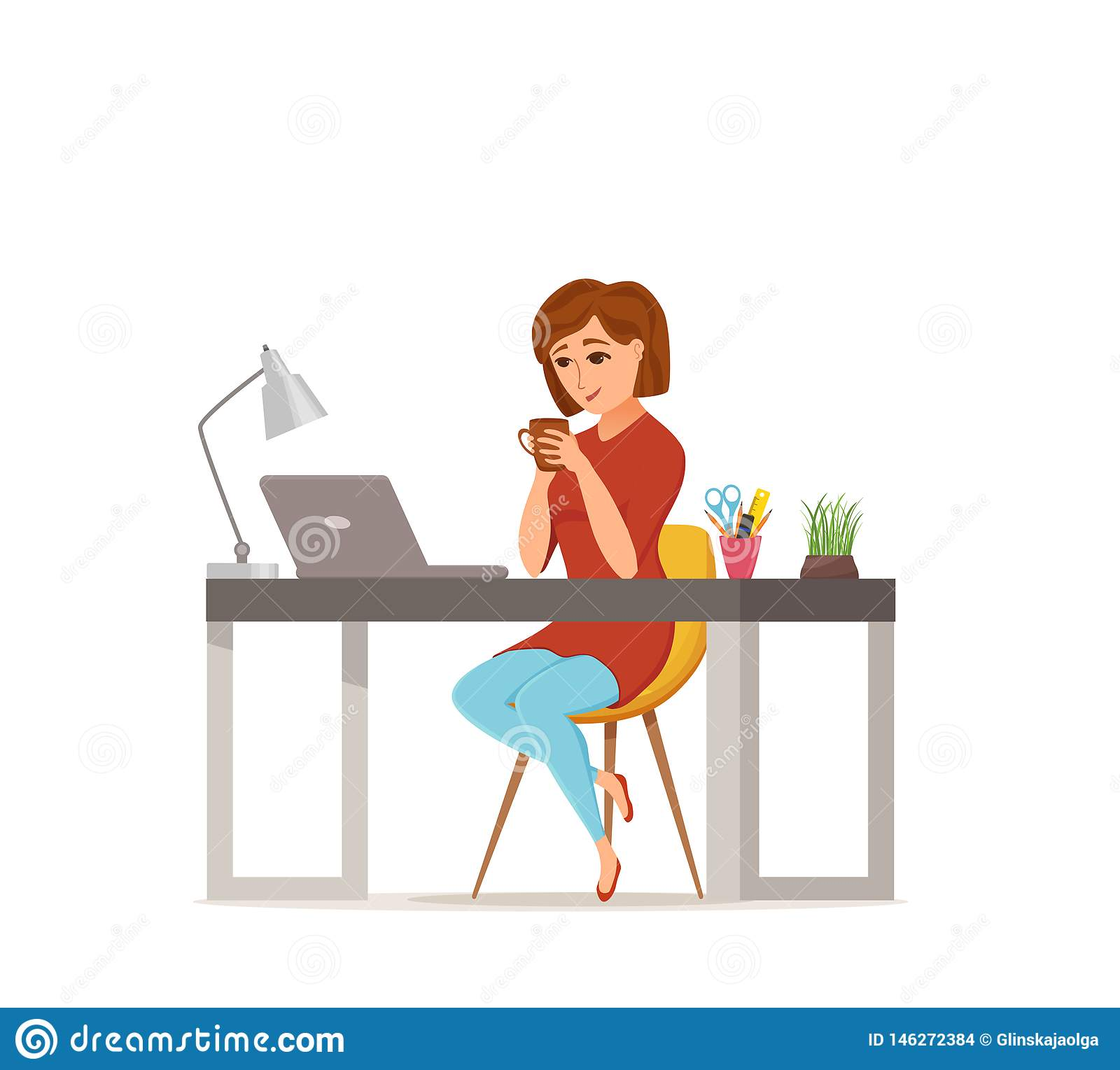 Woman Working On Computer Colorful Vector Concept Cartoon Flat Style Stock Vector Illustration Of Career Character 146272384