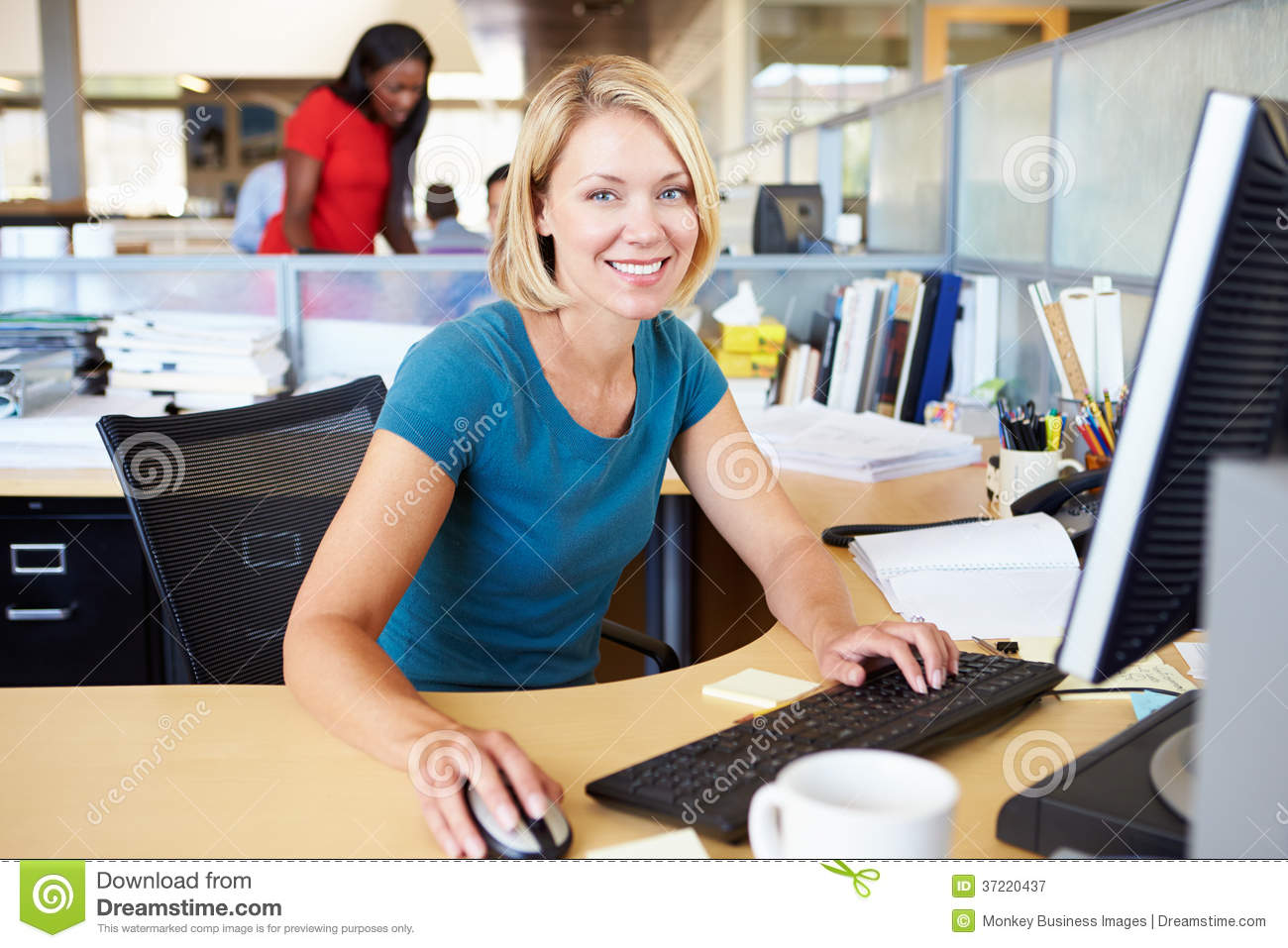 Woman Working At Computer In Modern Office Stock Image Image Of