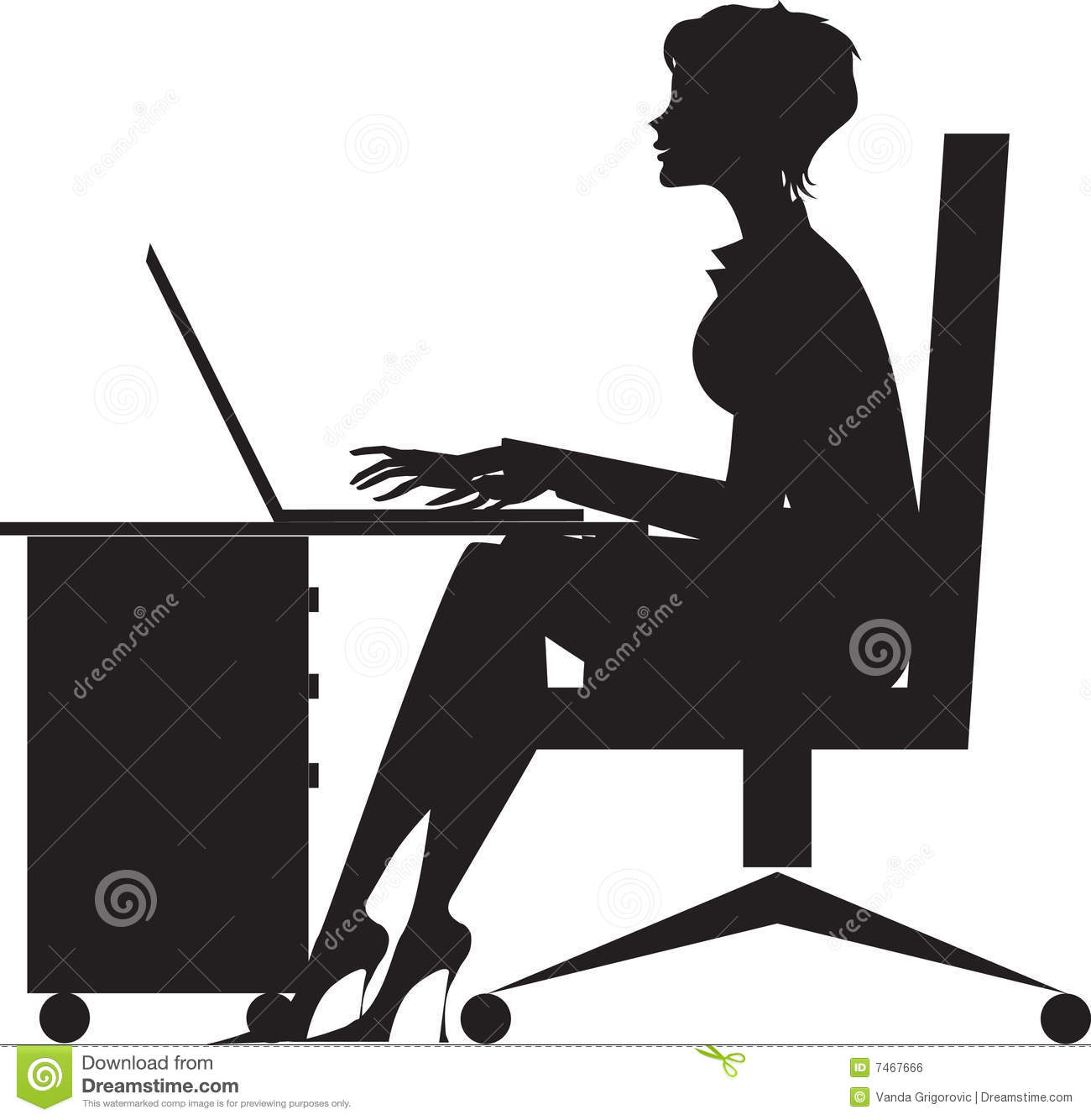 Woman Working At Desk ...