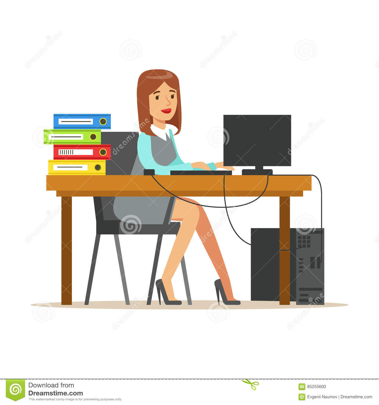 foto de Woman Working At Her Desk With Computer And Folders Part