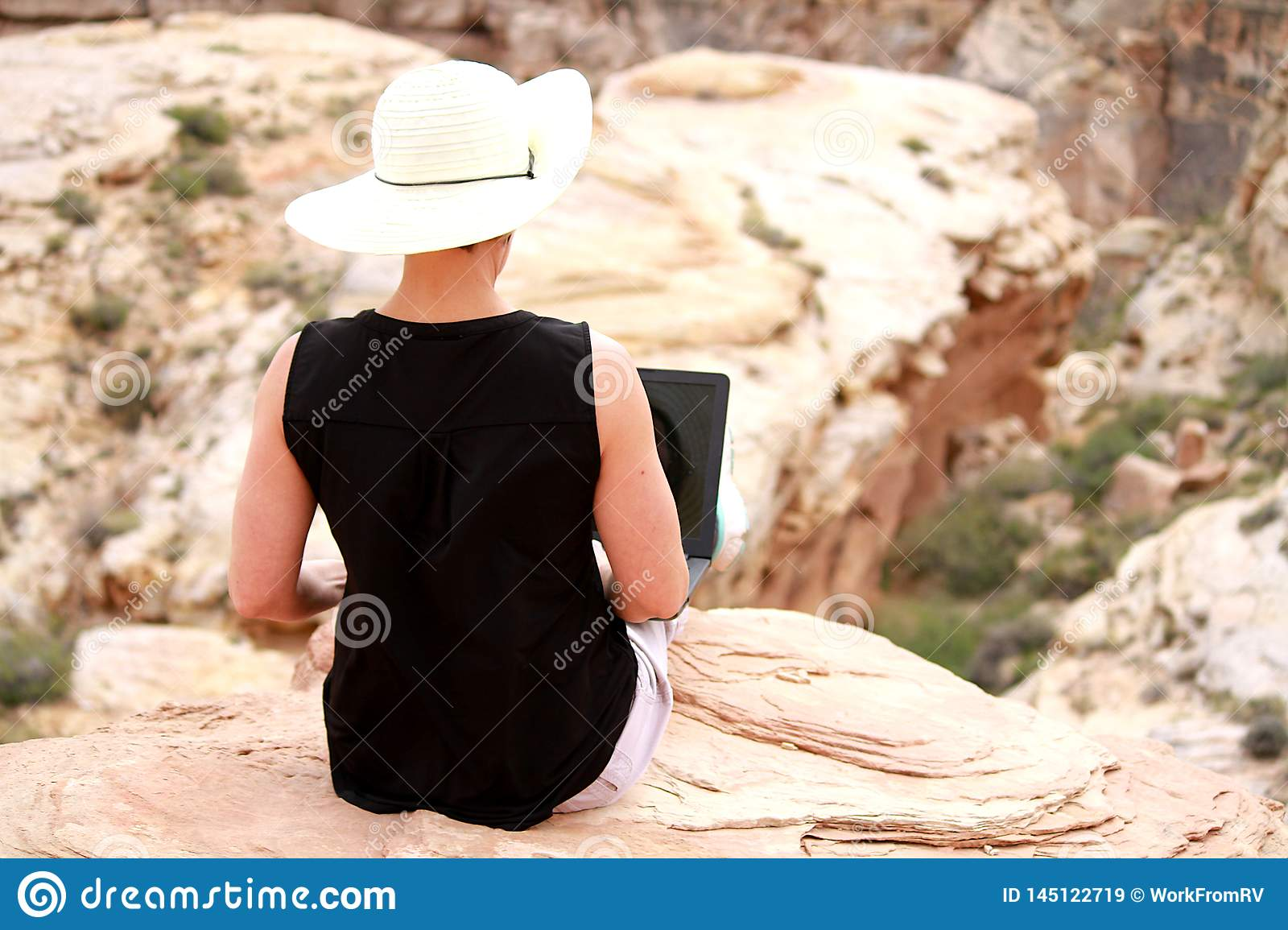 Woman working on laptop computer high up on rocks.