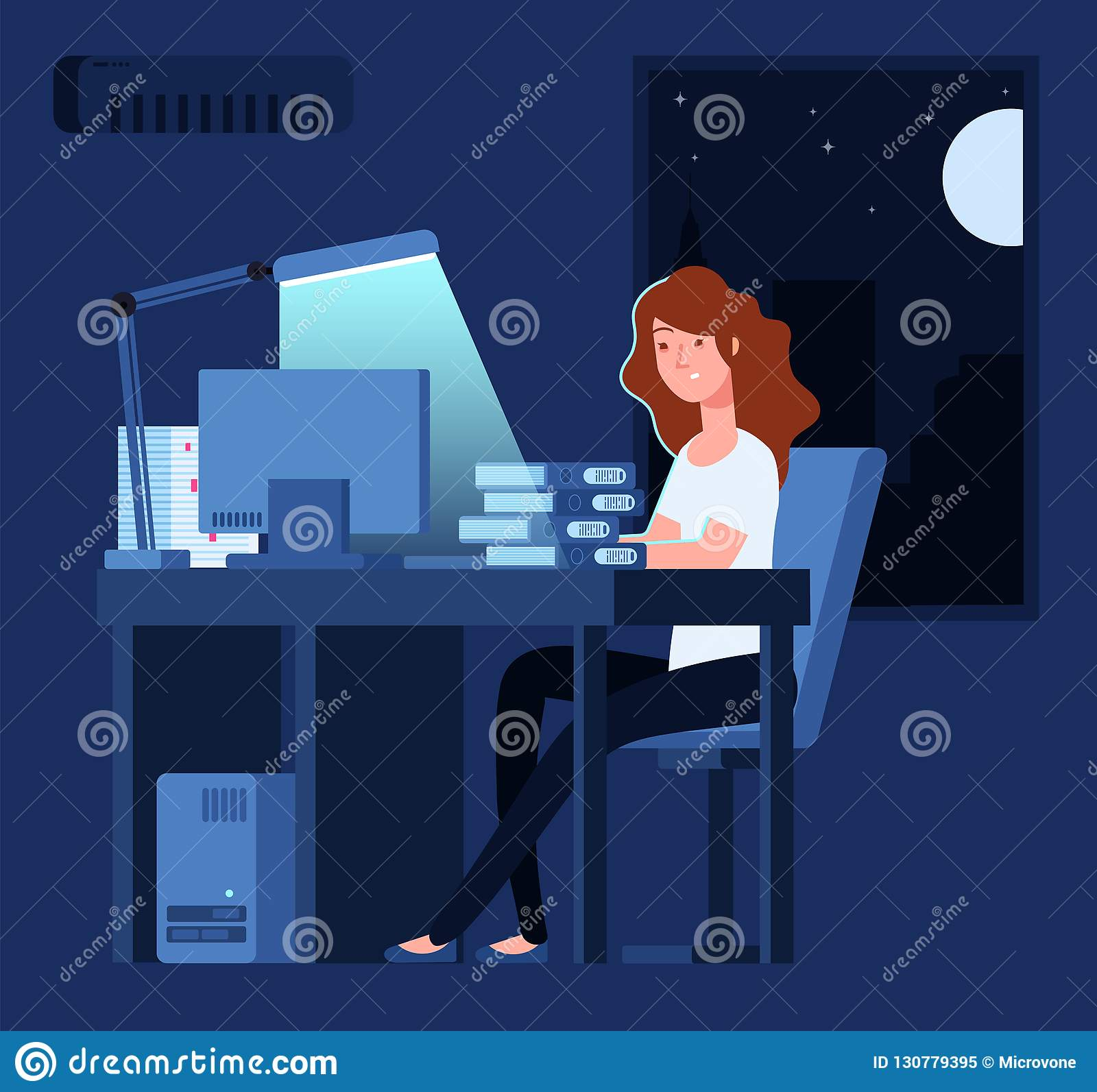 Woman working at night. Unhappy stressed female late hard works in office with documents and computer vector concept