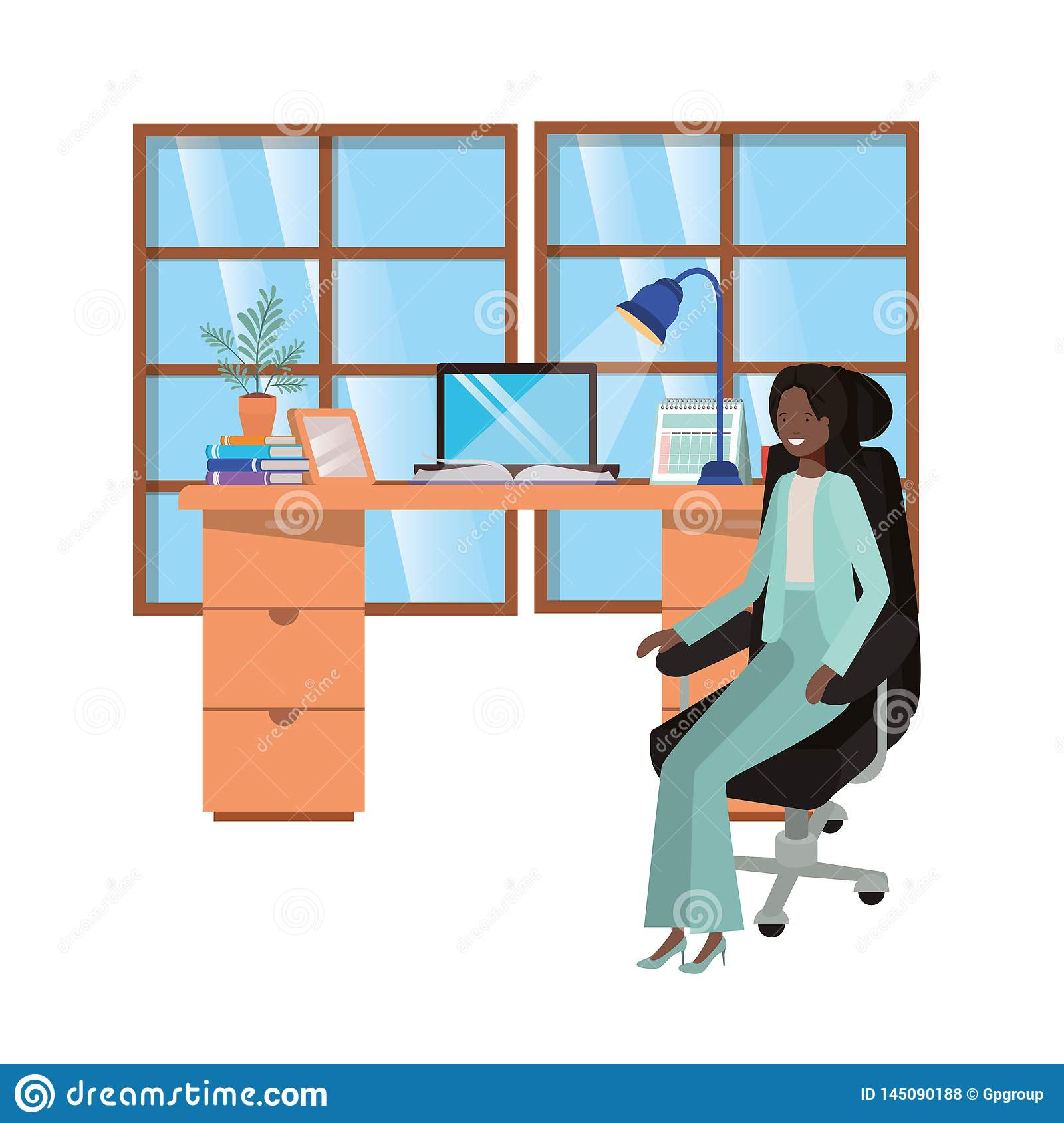 Woman Working In The Office Avatar Character Stock Vector ...