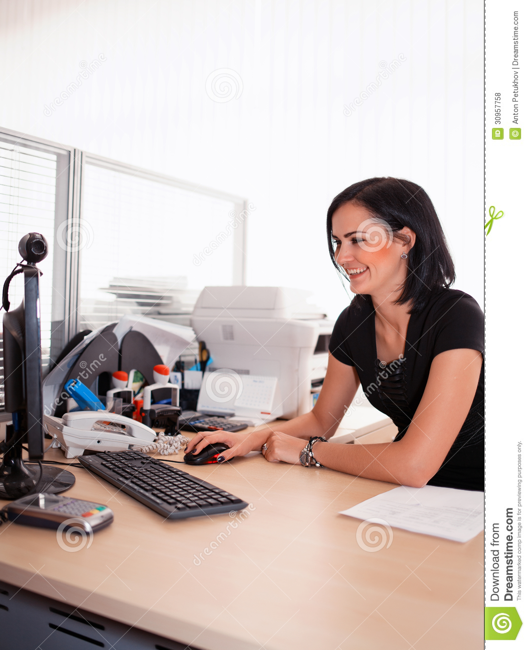 Woman Working In Office Royalty Free Stock Photos - Image ...