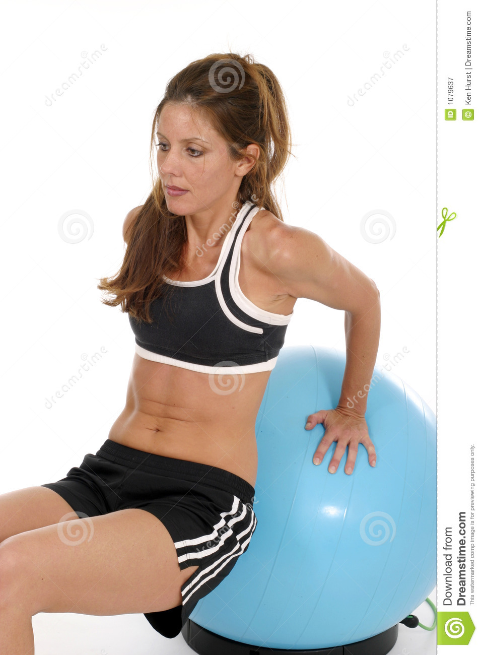 Woman Working Out On Exercise Ball 7 Stock Image
