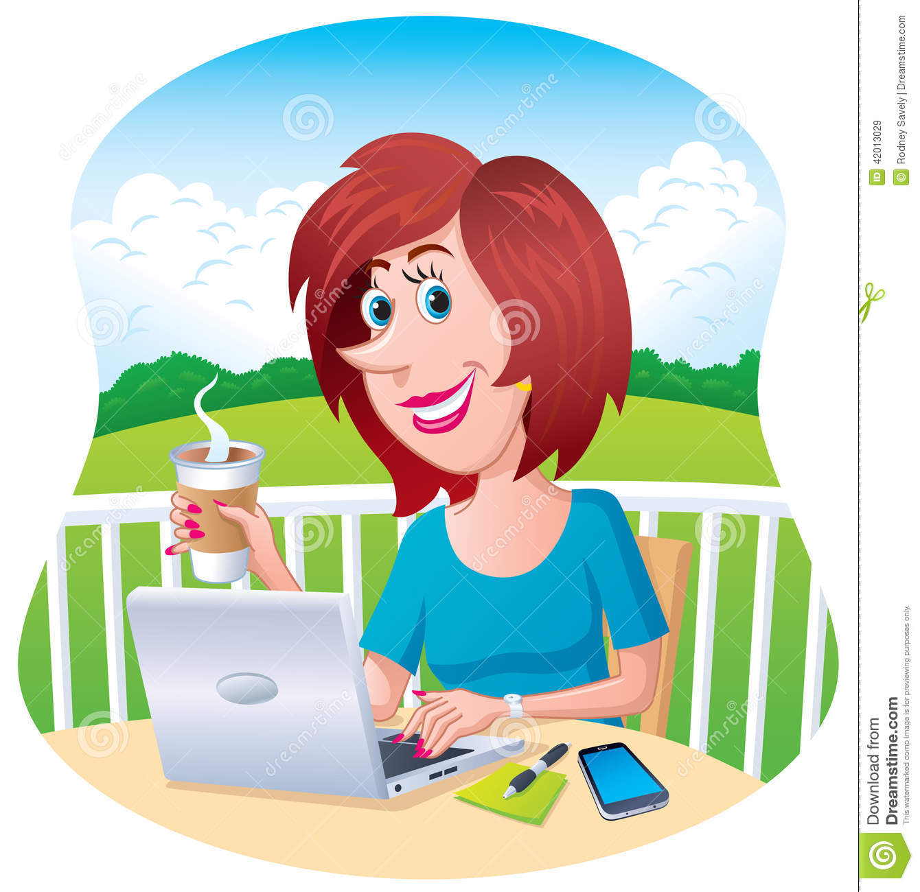 Woman Working Outdoors On Her Laptop Stock Photo - Image ...