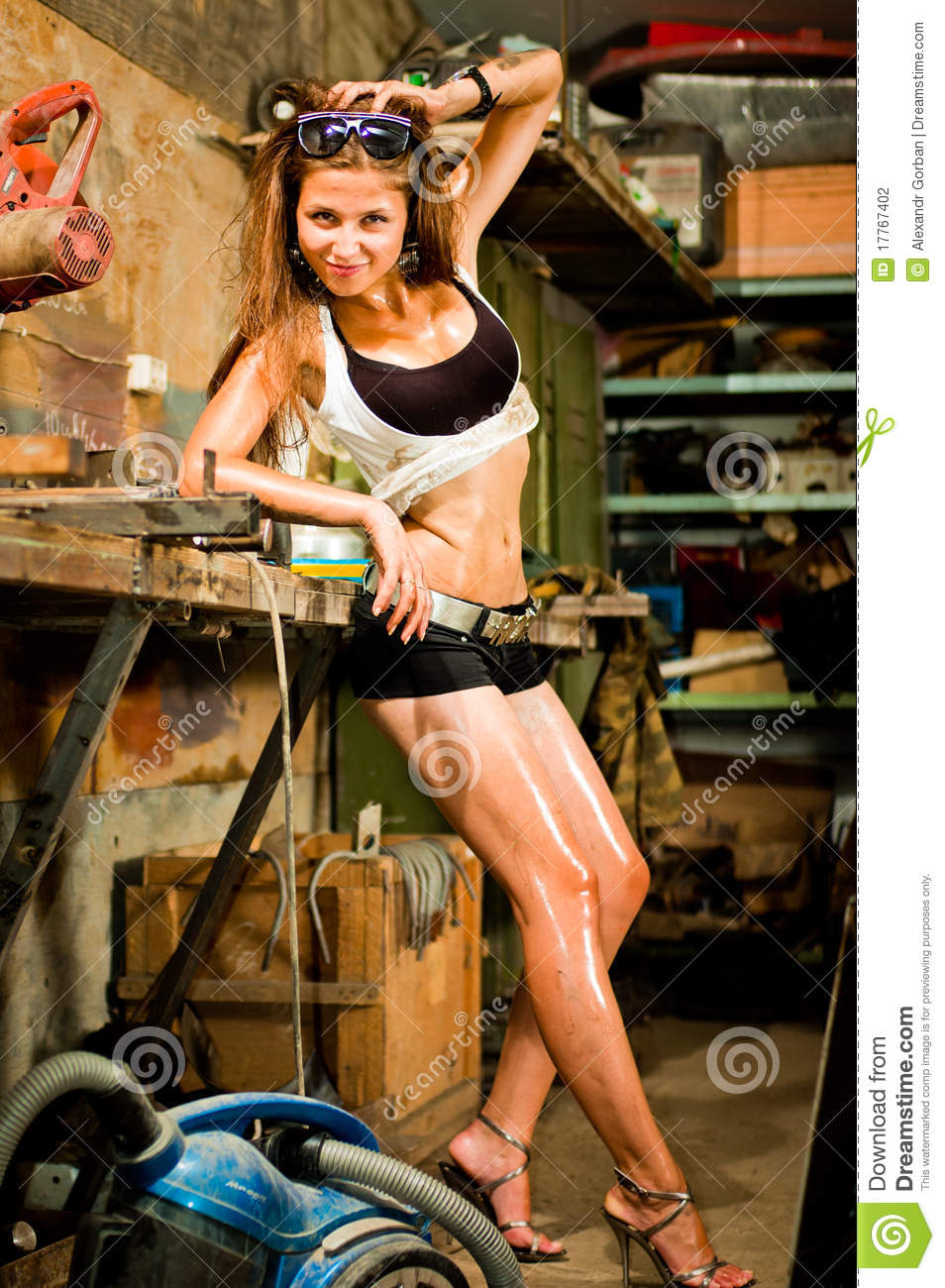Woman working with tools