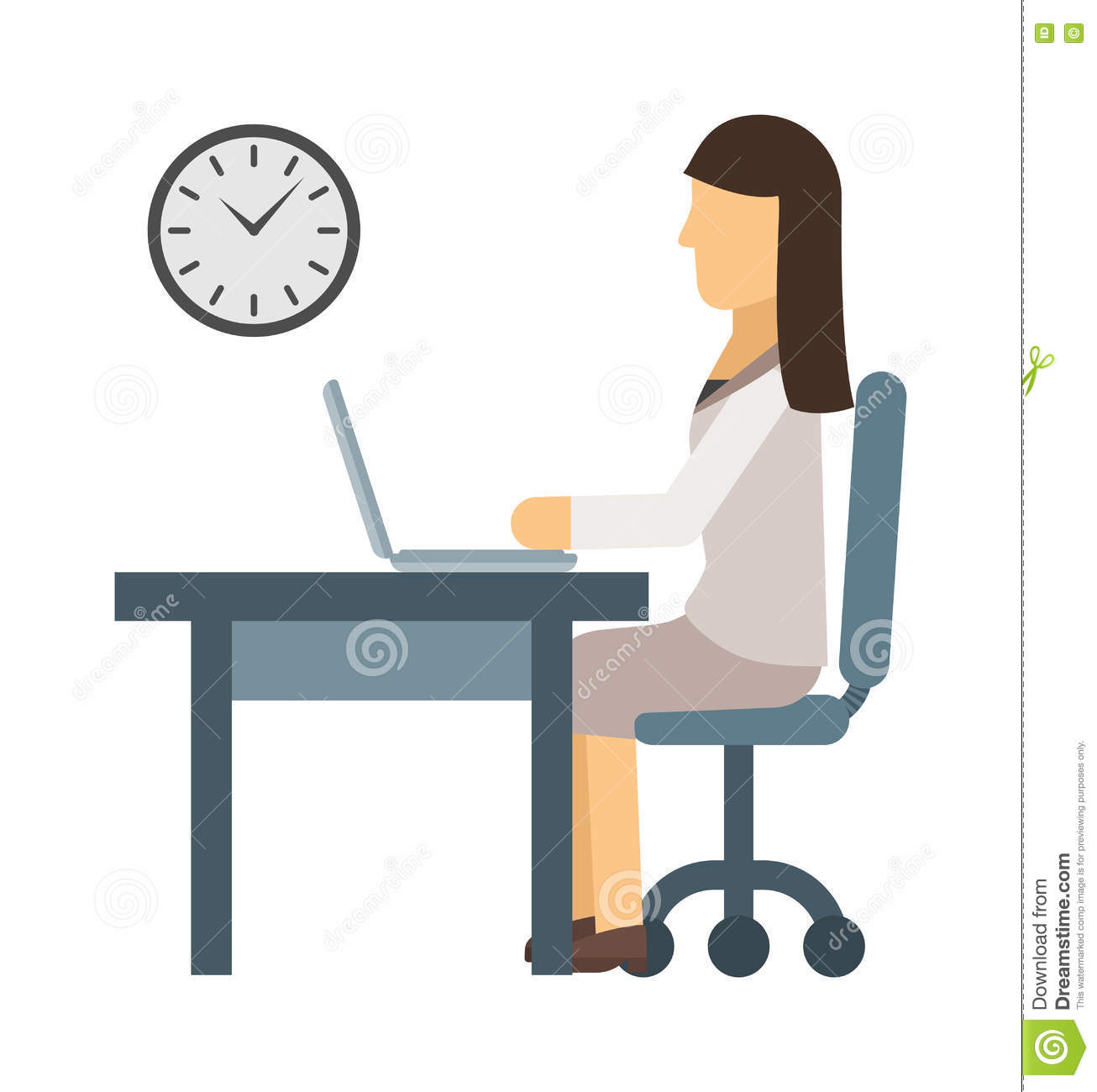 Vector Illustration Of Girl Working On A Computer Stock ...