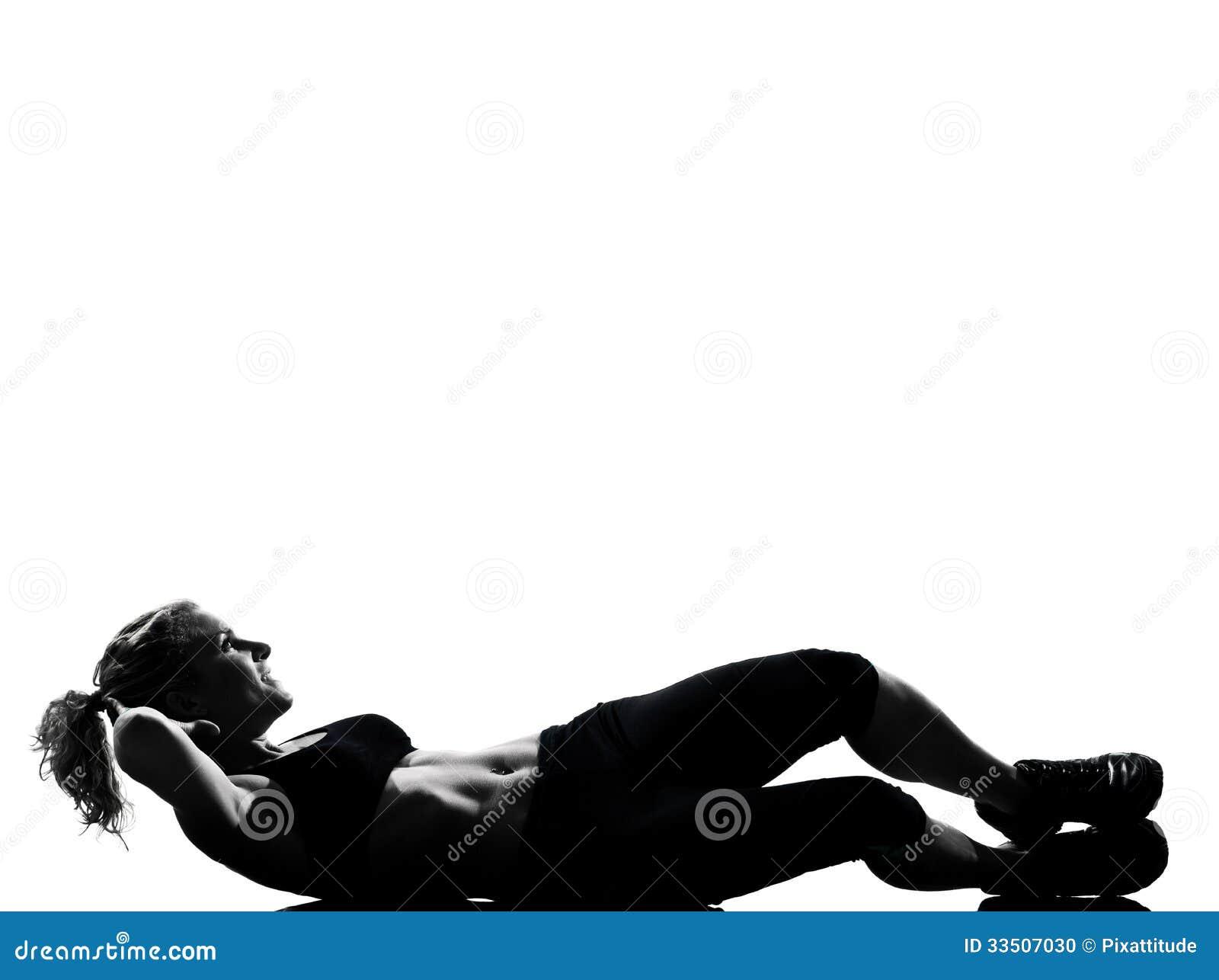 Woman Workout Fitness Posture Abdominals Push Ups Stock ...