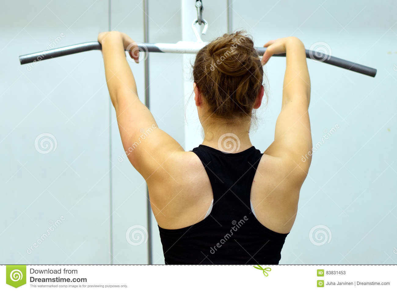 Woman Workout Her Back Muscles And Arms Stock Image - Image of build ...