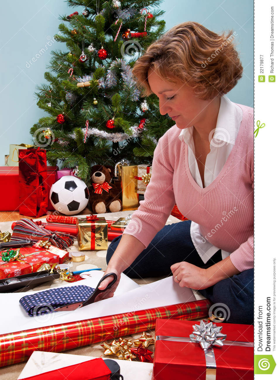 Woman Wrapping Christmas Presents Royalty Free Stock