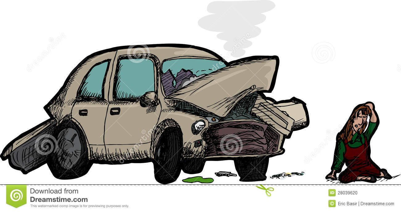 woman and wrecked car stock vector  illustration of pain