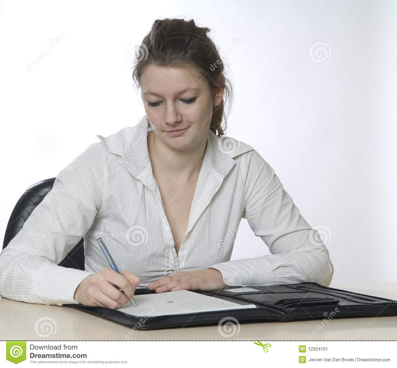 Woman Writing Stock Image - Image: 12324101