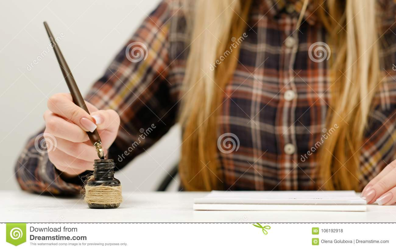 Woman writing calligraphy practice art stock photo image of