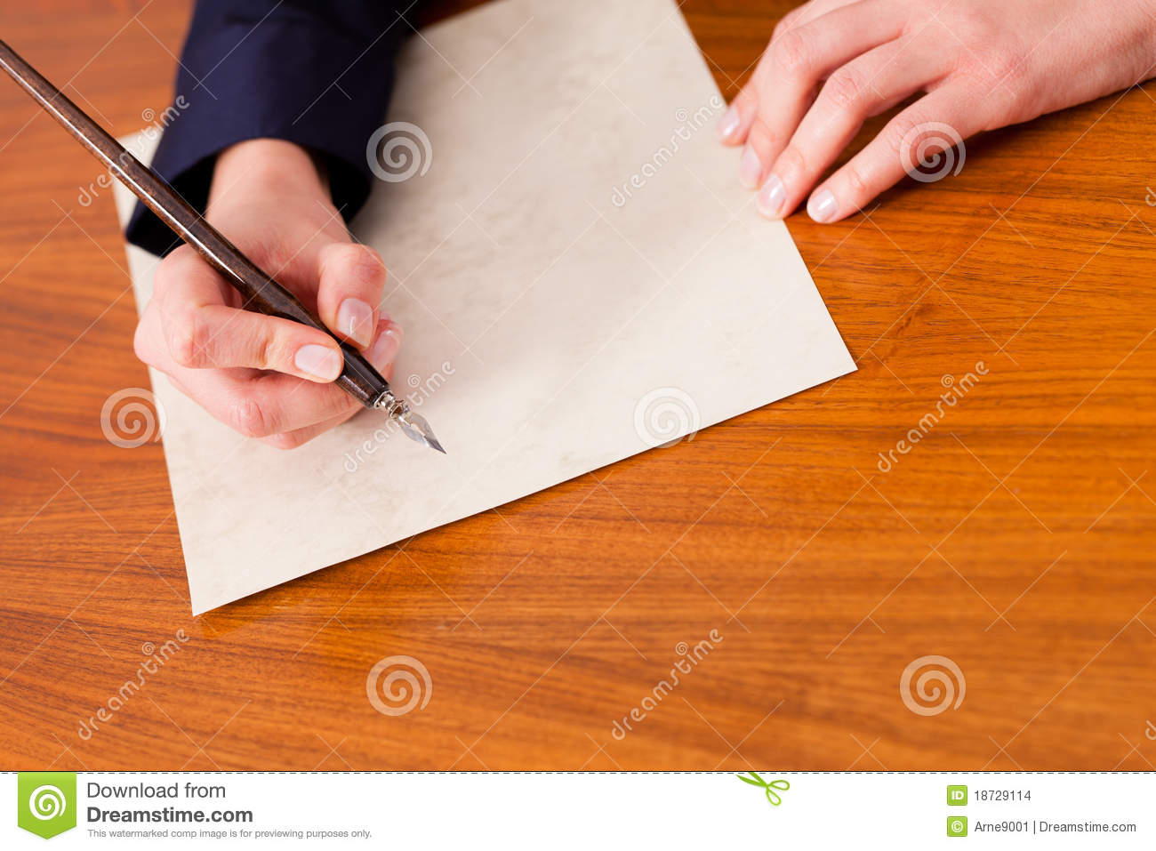 Woman Writing A Letter With Pen And Ink Stock Photo