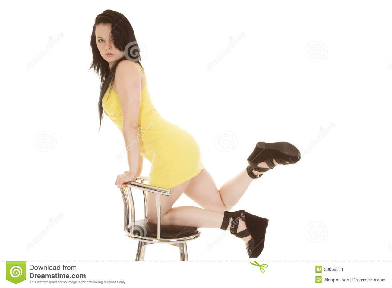 Woman yellow short dress kneeling on chair Stock Image. Businesswoman Kneeling Chair Stock Photos  Images    Pictures   31