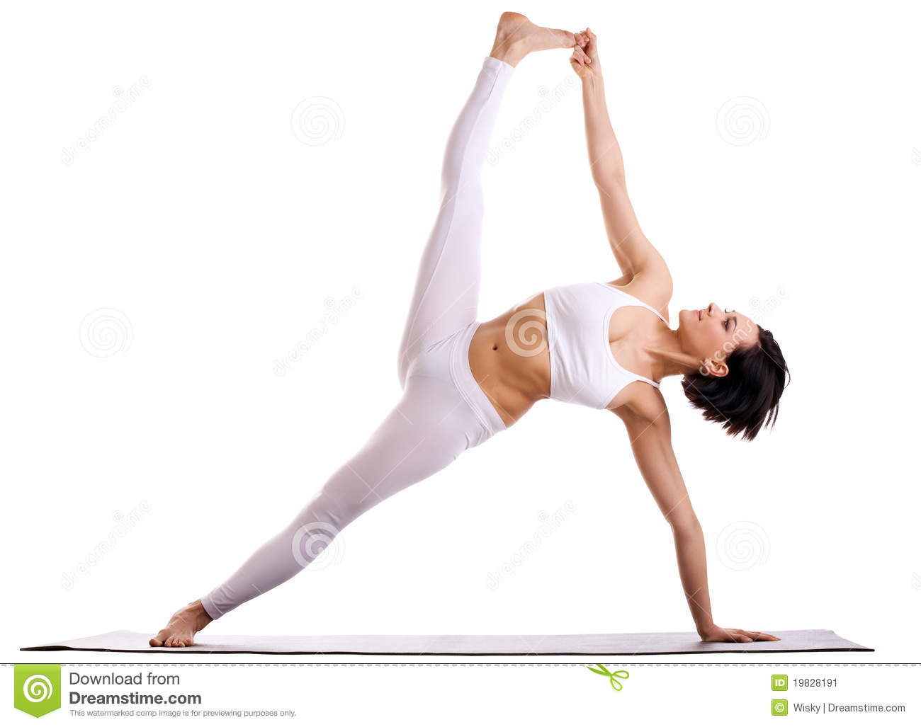 Woman In Yoga Asana - Side Plank Pose Stock Image - Image ...