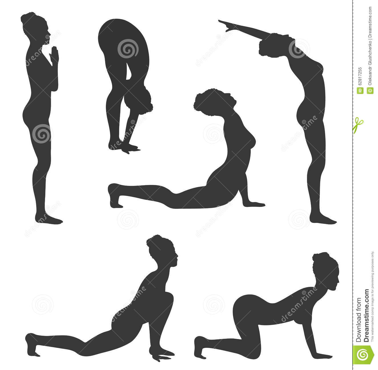 Woman In Yoga Poses Asanas Set Black On White