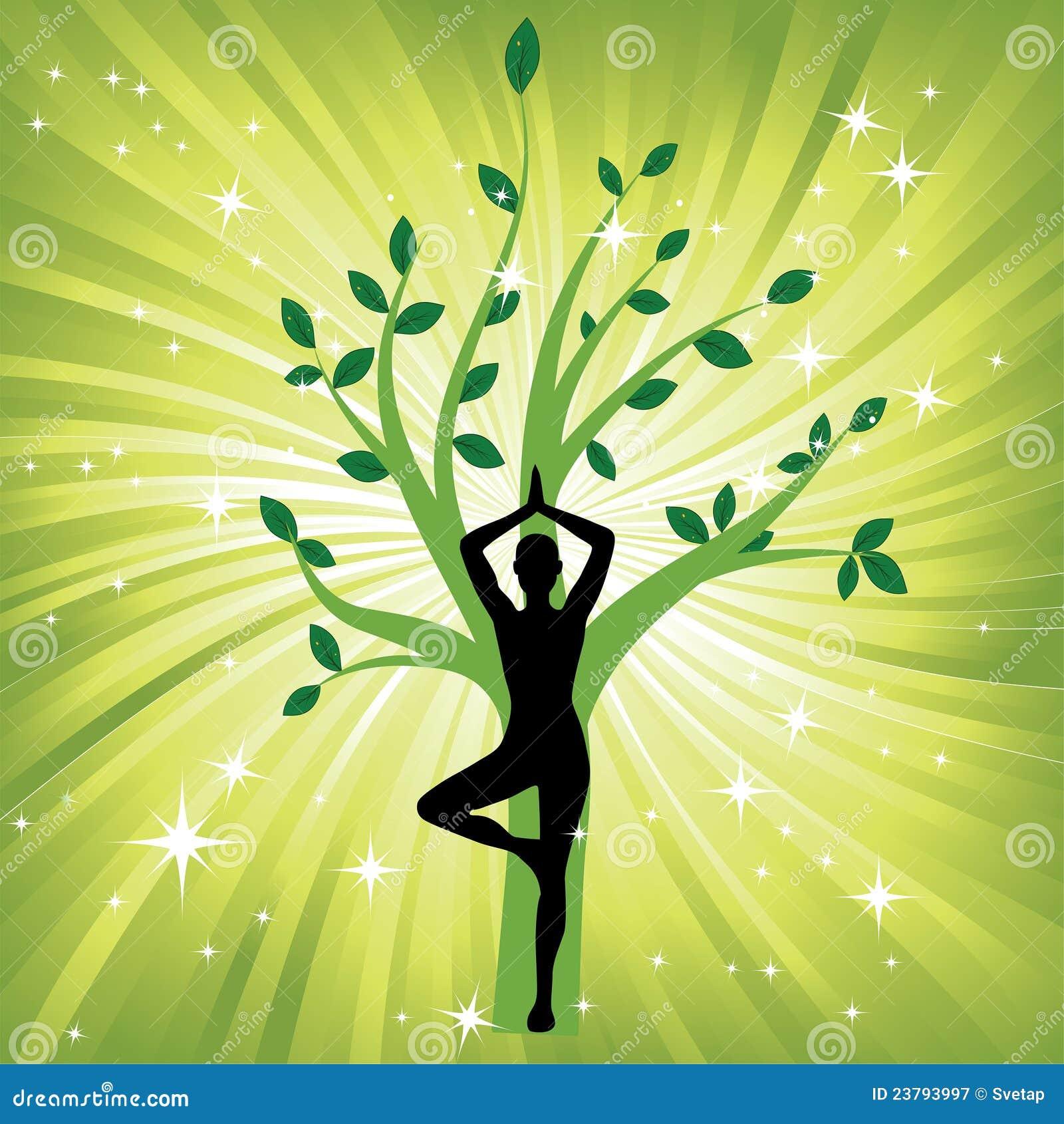 Woman In The Yoga Tree Asana Royalty Free Stock