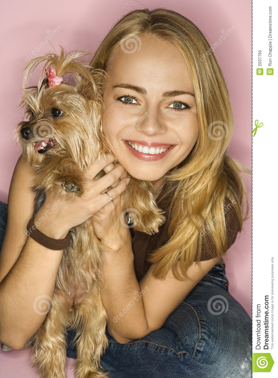 Woman With Yorkshire Terrier Dog Royalty Free Stock Photo
