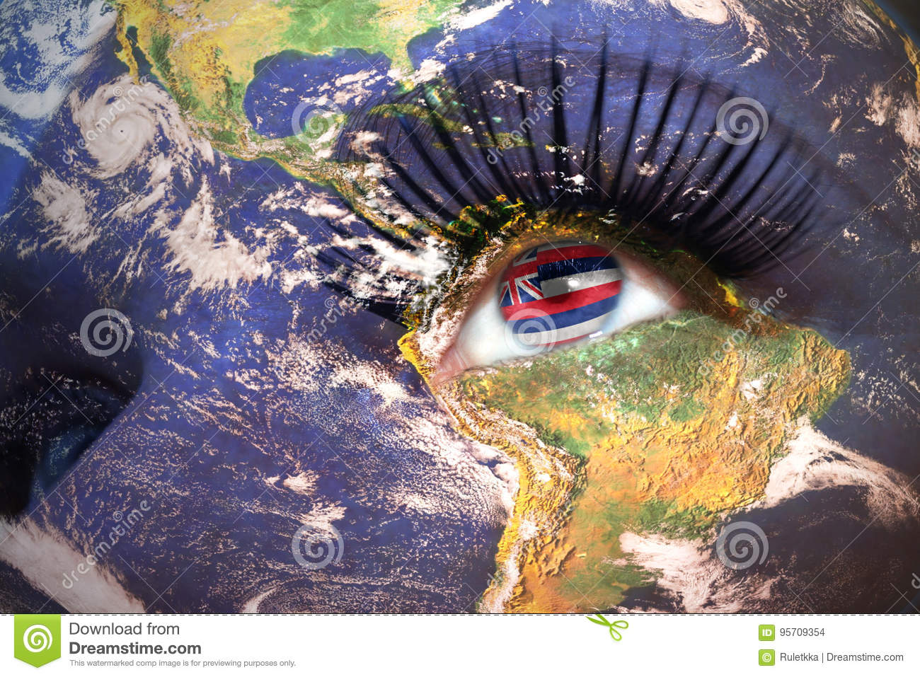 Womans face with planet Earth texture and hawaii state flag inside the eye.