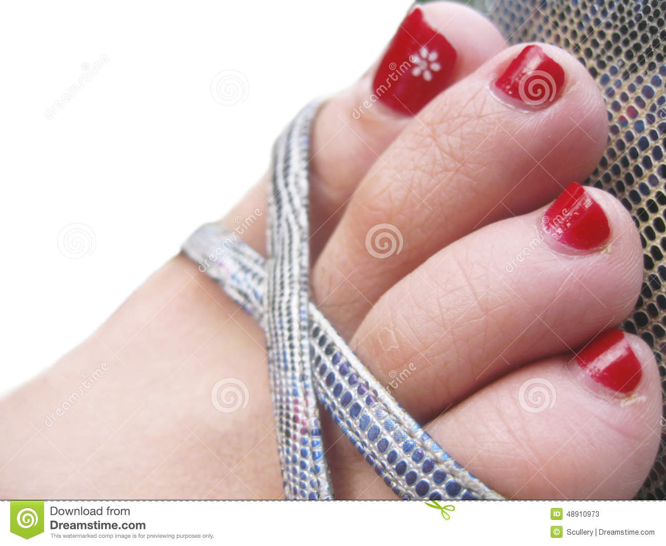 Womans Feet In The Footwear With Decorated Painted Nails ...