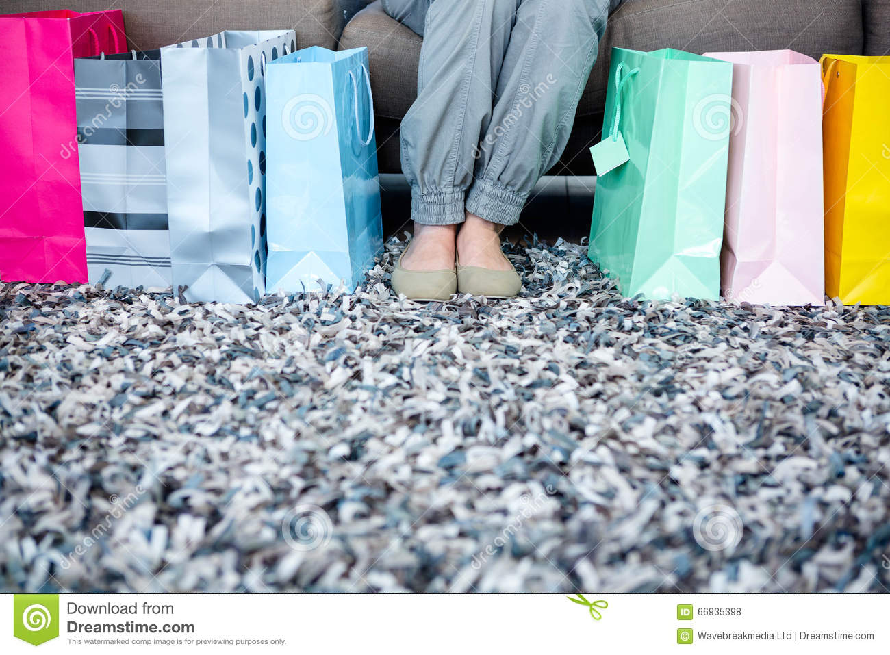 womans feet surrounded by gift bags & Womans Feet Surrounded By Gift Bags Stock Photo - Image of sitting ...